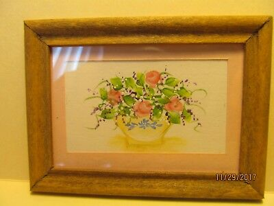 Dollhouse Miniature Inch Scale Signed  Water Color Of Flowers