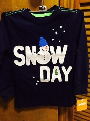 Gymboree toddler boy's long sleeve navy snow day thick cotton shirt 2T NWT
