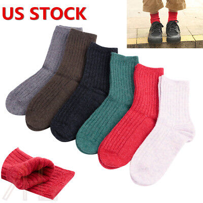 6 Pairs Child Girls Boys Kids Cashmere Wool Thicken Warm Multi-Color Socks 9-12Y
