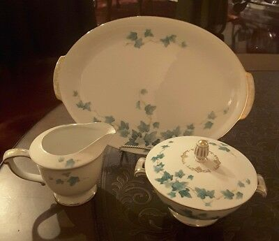 "vintage sugar bowl, creamer and 12"" serving platter floral desing by Sango Japan"