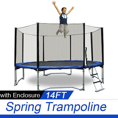 *VIC PICKUP* 14 FT Trampoline Enclosure Set + Safety Net + Ladder 4 legs 8 poles