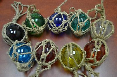 """8 Pcs Reproduction Glass Float Ball With Fishing Net 3"""" **pick Your Colors**"""