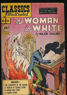 THE WOMAN IN WHITE 1949 Classics Illustrated Comic Book #61 1rst Printing (O) VG