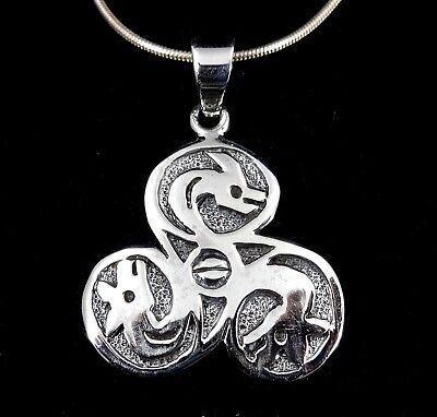 Handcrafted Solid 925 Sterling Silver Celtic Triple Spiral Dragon Pendant