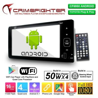 """CF6950 DOUBLE DIN Toyota Plug&Play 7"""" DVD CD Android System Wifi Bluetooth USB"""