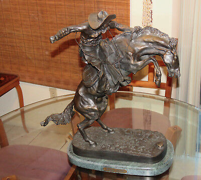 "Frederick Remington - ""Bronco Buster"" - Brass 22""- EXACT from original -1895"