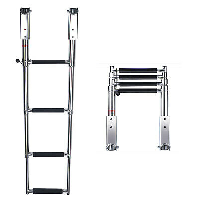 4 Step Boat Ladder Stainless Steel Swim Upper Platform Telescoping Ladder
