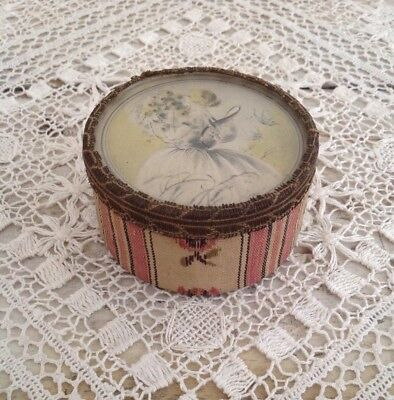 Petite Antique French Fabric Covered Trinket Box