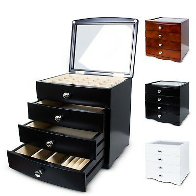 4 Layers Wooden Jewellery Box Organiser Storage Display Case Gift Ring Necklace