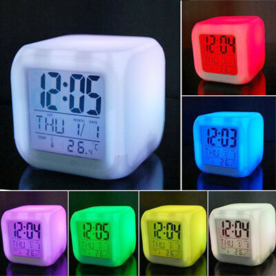 7 LED Colors Changing Digital Alarm Clock Thermometer Date Night Light LCD Gift