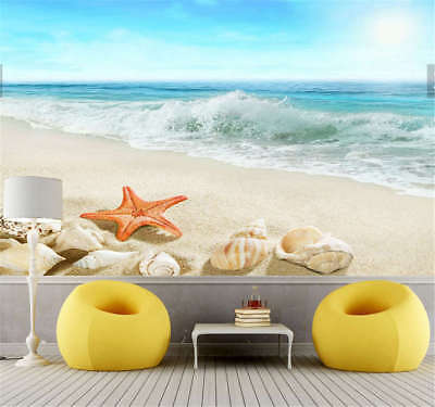 Clear Vibrant Shell 3D Full Wall Mural Photo Wallpaper Printing Home Kids Decor