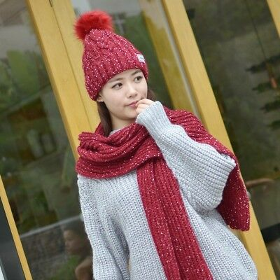 2Pcs Scarf Hat Set Women Winter Warm Solid Soft Knitted Pompoms Caps And Scarves