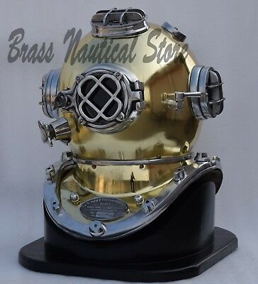Vintage Copper Scuba Sca Brass Divers Diving Helmet Royal Marine Deep Navy  Sea