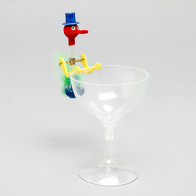 Novelty Retro Glass Drinking Bird Dippy Lucky Happy Duck Bobbing Toys w/ Cup
