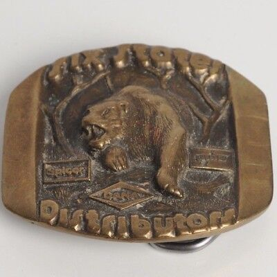 Vintage Solid Brass Grizzly Bear Belt Buckle Dated 1979 FREE SHIPPING NICE