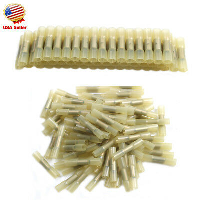 200pcs Heat Shrink Insulated Butt Wire Crimp Connectors Crimp Terminals (YELLOW)