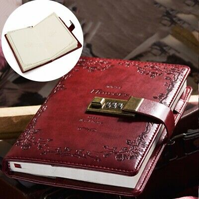 120 Sheets B6 Red Rose Leather Diary Journal Notebook With Combination Lock