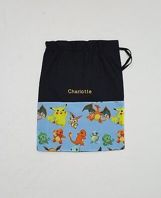 $ Free Name New Pokemon All Over Red 20 Personalised Embroidery Library Bag Fd