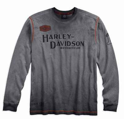 Harley Davidson Mens Ironblock Long Sleeve Top Grey
