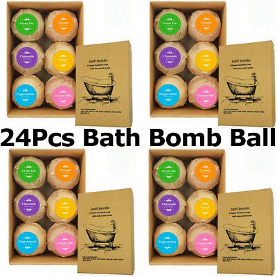 24Pcs Aromatherapy Bubble Bath Bombs With Coconut Oil Xmas GIFT Bath Fizzies