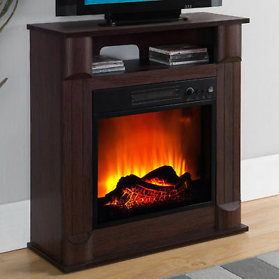 Electric Fireplace TV Stand Wood Mantle Storage Shelf Living Room Heater Cherry