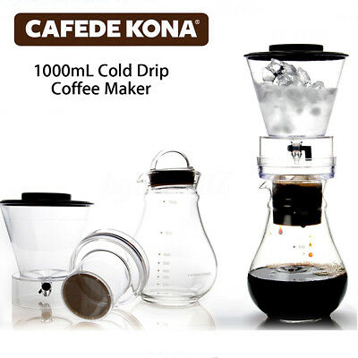 AU 1000mL Cold Glass Brew Drip Dutch Coffee Maker Ice Water Dripper For 8 Cups