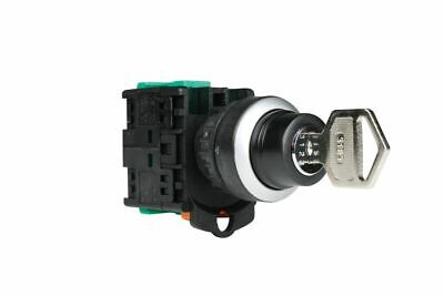 22mm 3 POSITION LATCHING RIGHT, SPRING RETURN LEFT KEY SWITCH 2 N/O KEY OUT 0