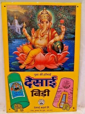 Vintage Cigarettes Advertising Tin Sign Desai Bidi Indian Lord Ganesha Rare #10