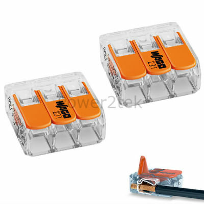 25 pcs Wago 3 way 221 Secure Wire Connector Terminal Block Cage Clamp Connection
