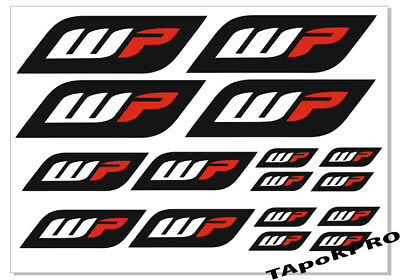 New WP suspension bike upper fork graphics moto vinyl stickers kit decals set A4