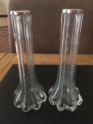 Pair Of Silver Rimmed Glass Vases