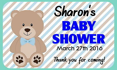 21 Personalised Gloss Baby Shower/ Christening Party Favour, Thank You Stickers