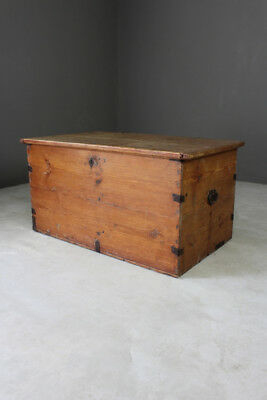 Large Antique Rustic Solid Pine Chest Trunk Blanket Box Storage