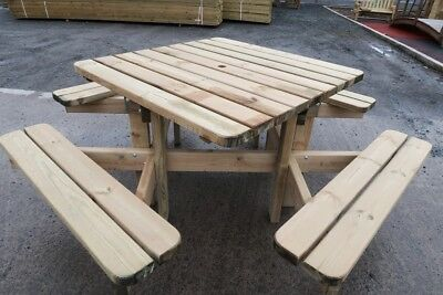 HEAVY DUTY PICNIC Tables Wooden Garden Bench Garden Table Seats - Picnic table seats 8