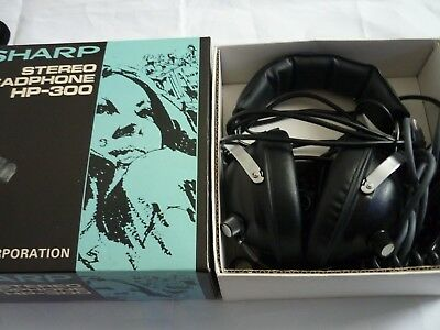 Vintage sharp headphones stereo Hp-300 complete with all extra leads rare blue