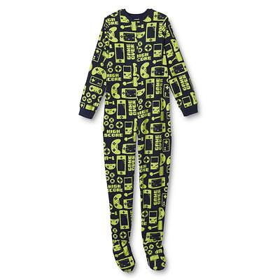 NEW Boys Joe Boxer VIDEO GAMES Footed Blanket Sleeper Pajamas PJs L XL Navy Lime