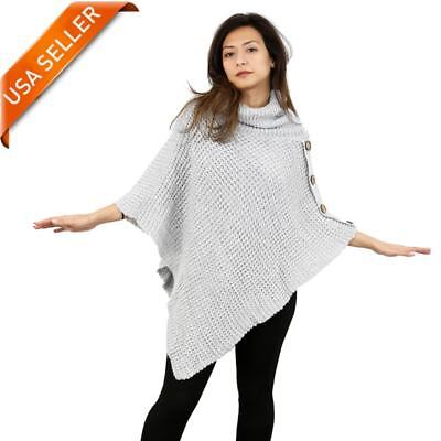 Bazzaara Women's Long Knitted Fringe Trim Sweater Poncho Cape Shawl Wrap