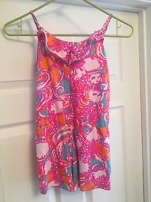 girls lilly pulitzer romper sleeveless pink blue size large 8-10