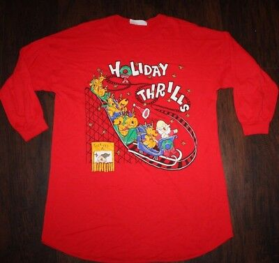 Vintage 80s 90s Ugly Christmas Sweatshirt Roller Coaster Tunic Large XL Red