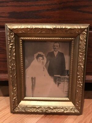 Antique Victorian Wood Gold Gilt Picture Frame w/ Wedding Photo On Wedding Day