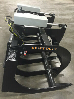 """72"""" Two Cylinder Brush GRAPPLE Root Skid Steer Bobcat Quick Attach HD Tractor 6'"""