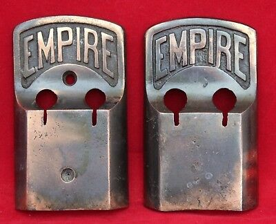 "2 Early Vintage Bronze Wash Metal Wall Button Hook Brackets - ""Empire"""