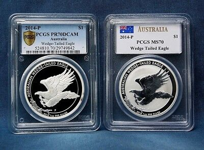 2014 Australia Silver Wedge-Tailed Eagle Pcgs Pr70Dcam + Ms70