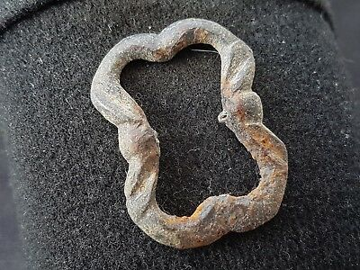 Very nice post Medieval bronze buckle uncleaned condition found in Britain L40m