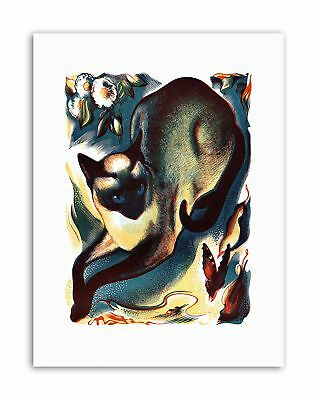 ART PRINT POSTER PAINTING ANIMAL CAT BUTTERFLY SIAMESE NOFL0924