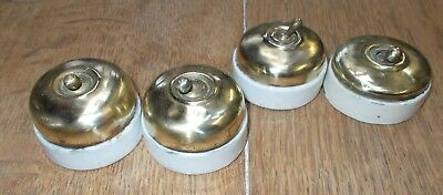Vintage Porcelain Brass Cover Toggle  old French Electrical Light Switches