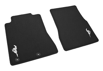2011-2012 Genuine Ford Mustang Charcoal Black Front Floor Mats w/ Running Horse