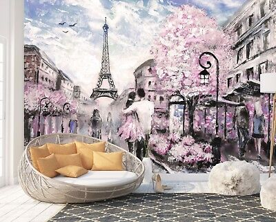 Wall Mural Photo Wallpaper Picture EASY-INSTALL Fleece Paris City Painting Photo