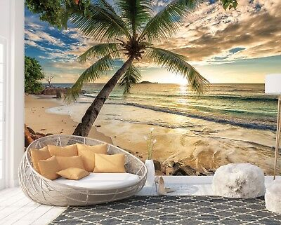 Wall Mural Photo Wallpaper Picture EASY-INSTALL Fleece Beach Palms Tree Sunset