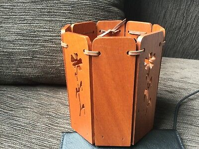 Handmade red cedar handcrafted decor item wth leather accents, Australian made
